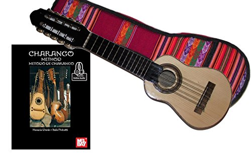 Charango + Guide Book with Online Audio Case Included From Peru