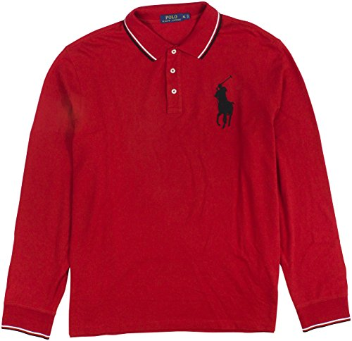 Red Big Pony - Polo Ralph Lauren Men's Long-Sleeve Mesh Big Pony Polo Shirt Large Red RL2000