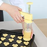 Ourokhome Cookie Press Icing Gun - Biscuit Maker with 16 Discs and 6 Cake Decoration Tips (Yellow)