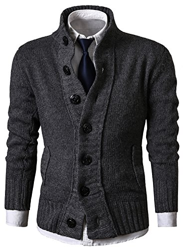 MIEDEON Mens Casual Stand Collar Cable Knitted Button Down Cardigan Sweater (L, ()
