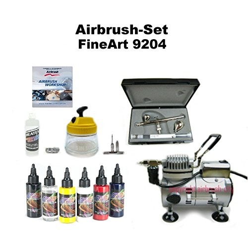 Fine-Art Komplett Airbrush Set FineArt 9204 Ultra Two in One + Saturn 25 Kompressor