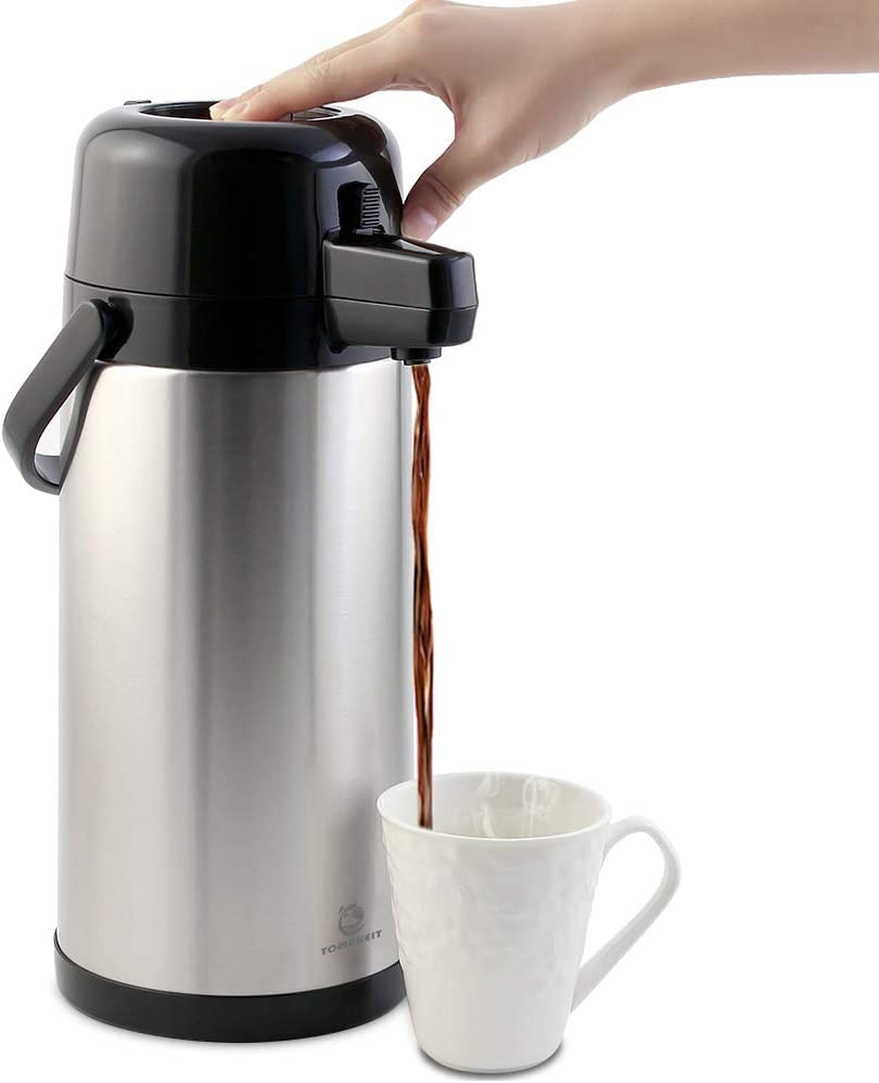 Airpot Coffee Carafe - TOMAKEIT 3L(102 Oz) Airpot Beverage Dispenser Insulated Stainless Steel Large Coffee Thermal - Pump Action Airpot for Hot/Cold Water