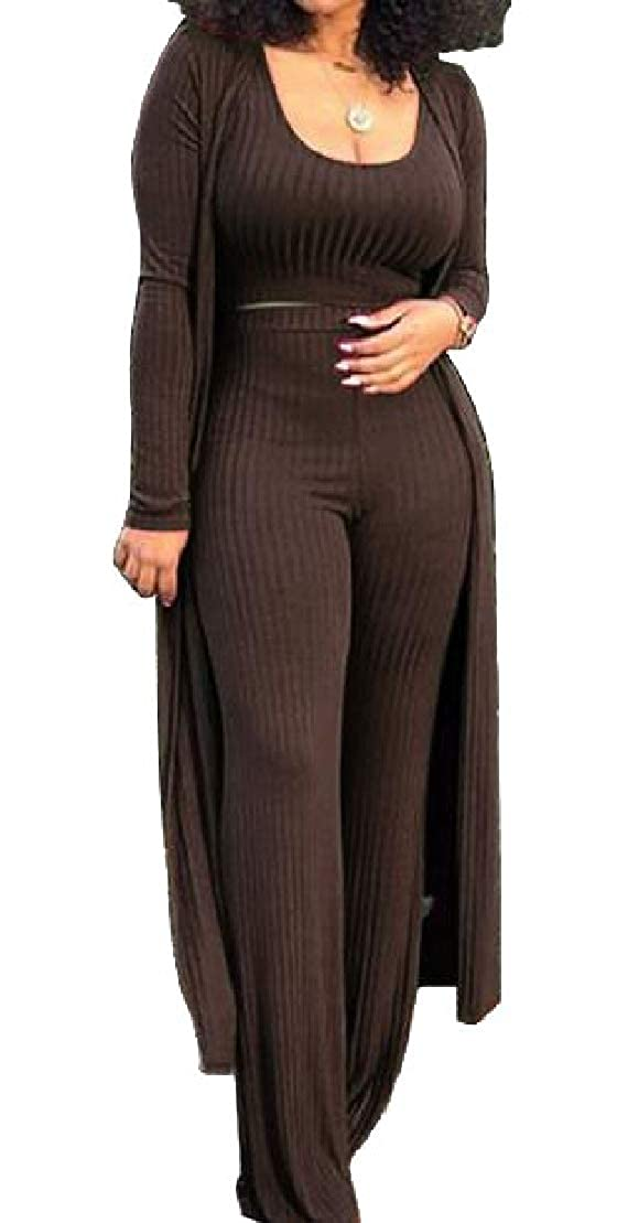 Brown WofupowgaCA Women Knitted 3Piece Cardigan and Pant Sexy Club Stretch Outfits