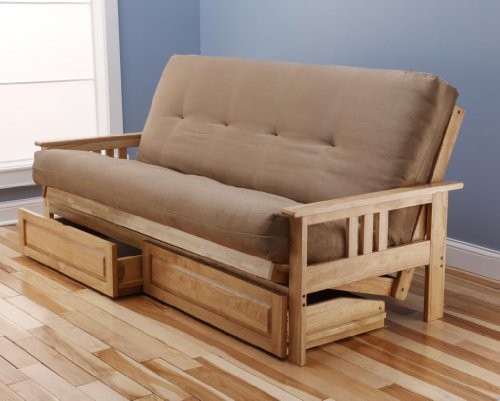 Monterey Full Size Futon Sofa and Drawer Set, Natural Finish Hardwood Frame And Soft Suede Innerspring Mattress, Peat
