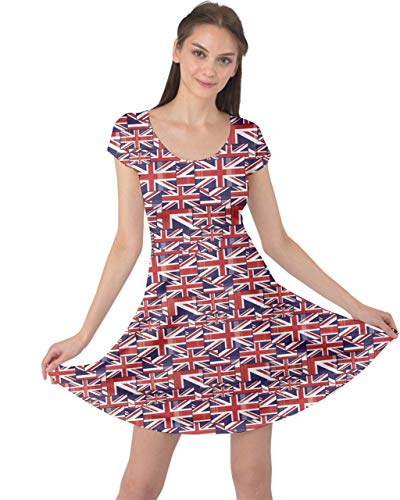 CowCow Red Pattern of British Flag Cap Sleeve Dress, Red-M]()