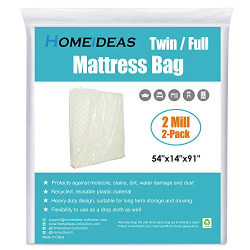 (HOMEIDEAS 2-Pack Extra Thick Mattress Bag for Moving and Storage,Fits Twin/Full Size)