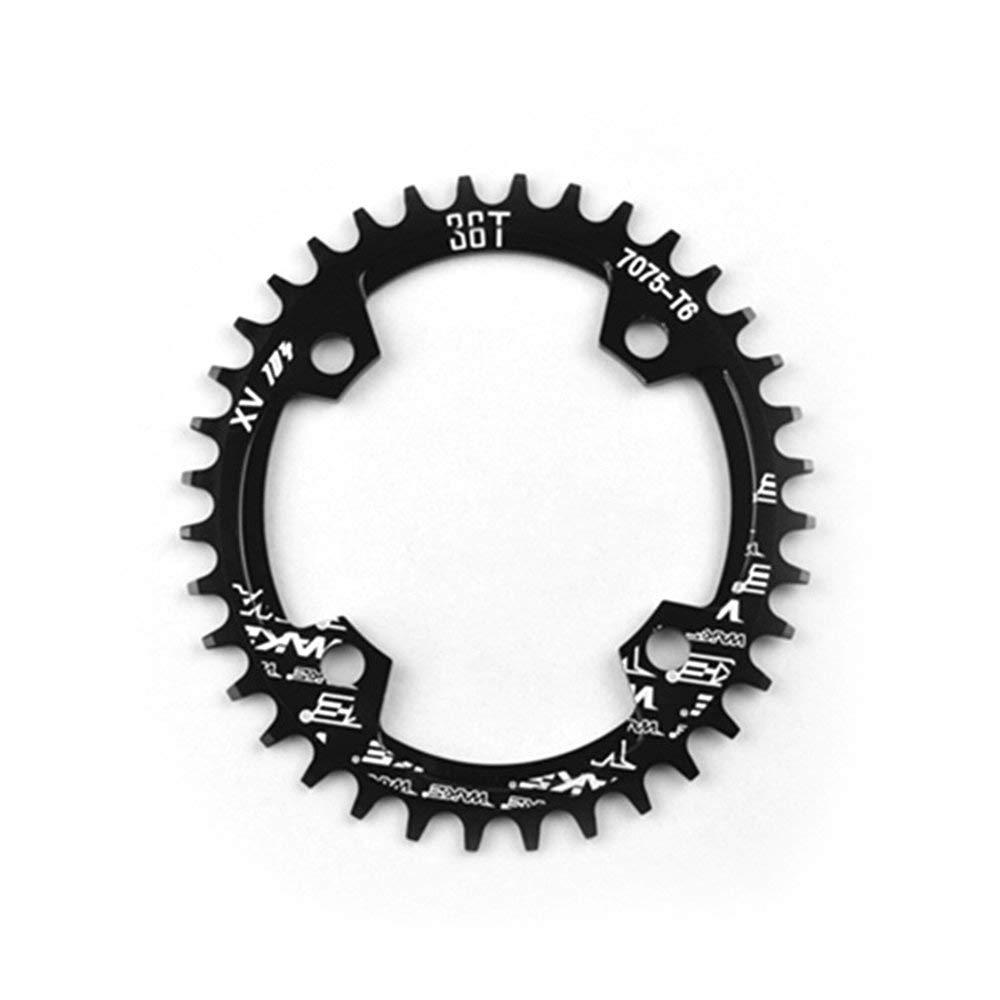 Erduo Anneau de chaîne de vélo Large étroit Ovale chaîne 104mm BCD Anneau de chaîne en Alliage d'aluminium CNC 32T 34T 36T 38T CNC pour VTT - Noir