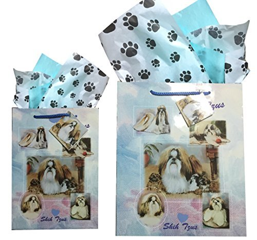 Dog Breed Gift Bags Set of Two with Tissue Paper (Shih Tzu) (Prints Tzu Shih Paw)