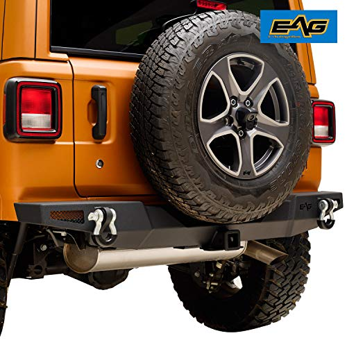 - EAG Rear Bumper with D-Ring and Hitch Receiver Fit for 18-19 Jeep Wrangler JL