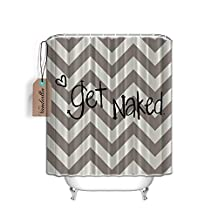 Funny Quotes Get Naked Love Heart Chevron Fabric Shower Curtain Bathroom Set,60x 72 Inch,Design for Home Accessories,Geometric Theme ,Gray Cream
