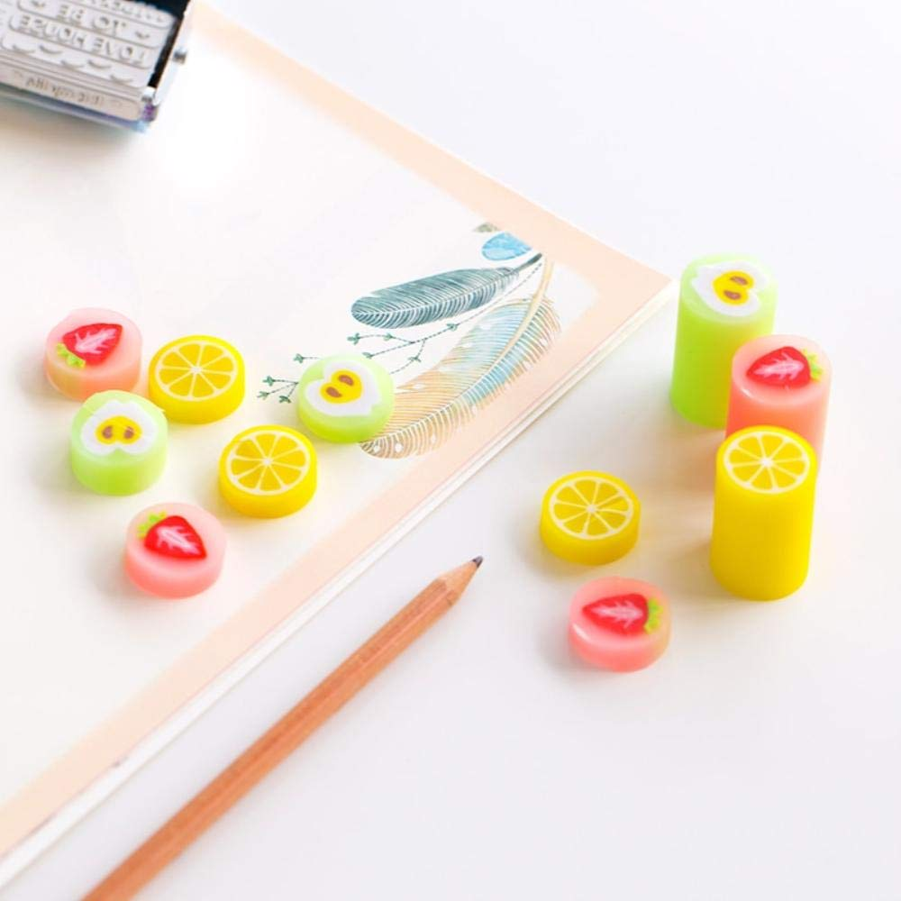 24 pcs/Lot Colorful fruit eraser for pencil erasing Novelty Lemon Apple Stationery Office supplies borracha escolar by PomPomHome (Image #2)