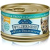 BLUE Wilderness Wild Delights Kitten Flaked Grain Free Chicken & Trout in Tasty Gravy Wet Cat Food 3-oz (pack of 24)