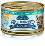 Blue Wilderness Wild Delights Kitten Flaked Grain Free Chicken & Trout In Tasty Gravy Wet Cat Food 3-Oz (Pack Of 24) Review