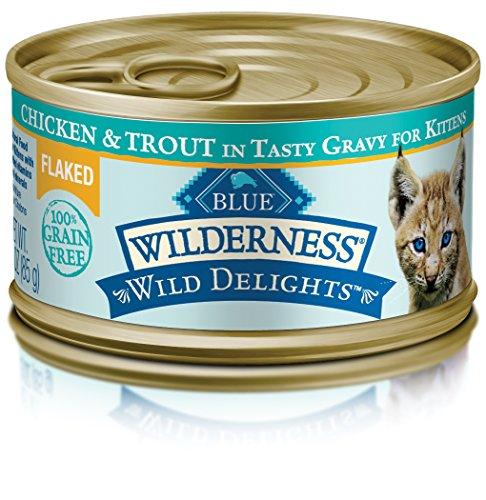 (BLUE Wilderness Wild Delights Kitten Flaked Grain Free Chicken & Trout in Tasty Gravy Wet Cat Food 3-oz (pack of)