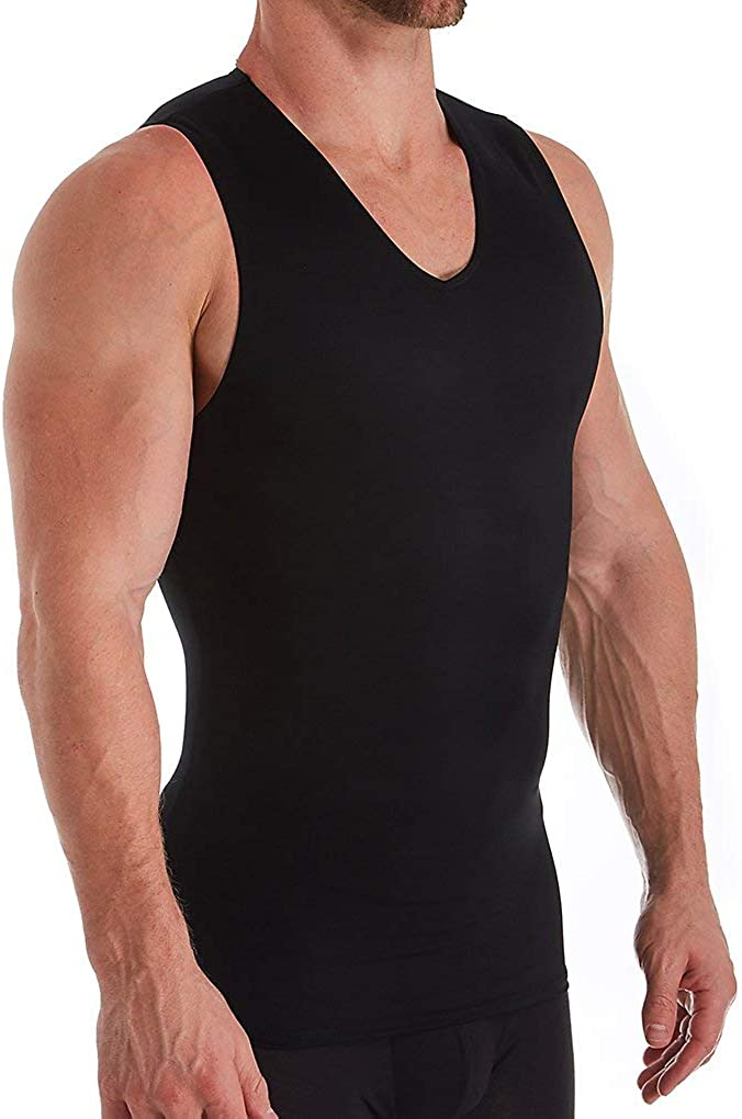 Insta Slim Mens Compression Sleeveless V Neck Muscle Shirt- Slimming Body Shaper Undershirt