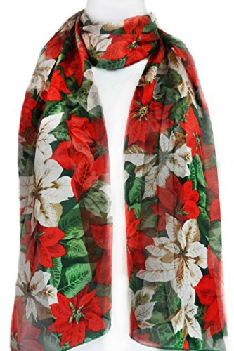 Women's Christmas Scarf, Poinsettia