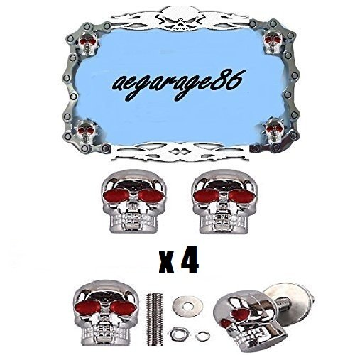 aegarage86 4pcs Skull license plate bolts screw chrome red eye universal fit for vehicle car motorcycle