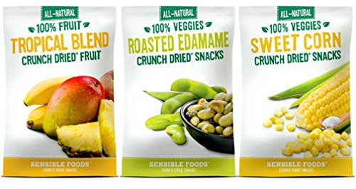 - Sensible Foods All-Natural Gluten Free Vegan Non-GMO Crunch Dried Snacks 3 Flavor 9 Bag Variety Bundle: (3) 100% Tropical Fruit Blend, (3) Sweet Corn, and (3) Roasted Edamame.32-.65 Oz. Ea. (9 Bags)