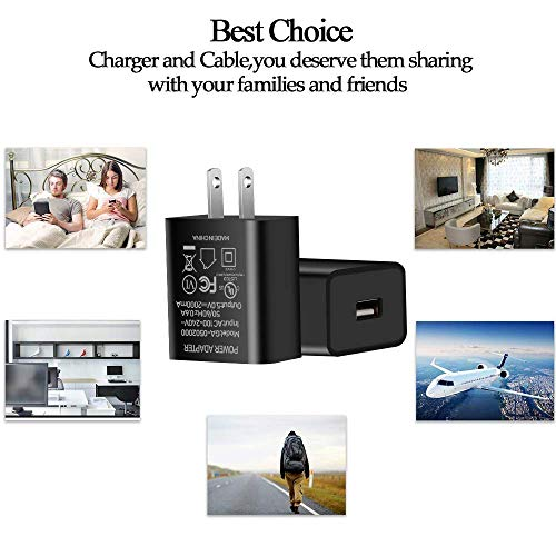"""Kindle Fire Fast Charger, [UL Listed] JDHDL Fast Rapid Charger Adapter with 6FT Micro-USB Cable for Kindle Fire HD, HDX 6"""" 7"""" 8.9"""" 9.7"""", Fire 7 8 10 Tablet and Phone, Tab Power Supply Cord (Black)"""
