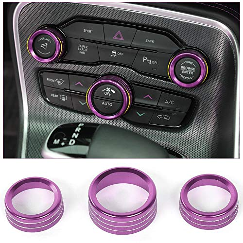 Voodonala for Challenger Charger Air Conditioner Switch CD Button Knob for Dodge Challenger Charger 2015-2019(Aluminum Alloy Purple)