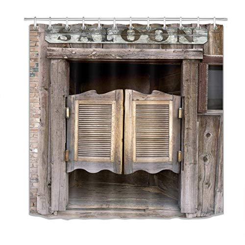 LB Wood Door Shower Curtain,3D Old Western Theme Swinging Saloon Doors Print Farm Shower Curtain Waterproof Eco-Friendly Fabric Bathroom Curtain with Hooks,72 X 72 -