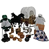 Little House 48 Piece Doll American Prairie Doll Clothes, Wagon, Sleigh, Horses, Dog & Amazingly Detailed Antique Style Kitchen Tools, Cooking Set & More! Accessory Set Fits 18 Inch Girl Dolls