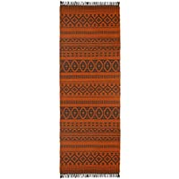 Orange Geo Cotton (2.5x8) Rug Runner