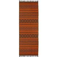 Orange Geo Cotton (2.5x8) Rug Runner