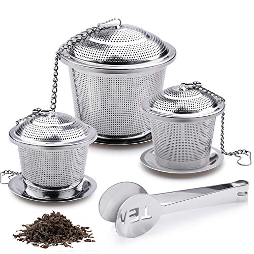 Tea Infuser, 3 Premium Stainless Steel Tea Ball Strainers and Cooking Infuser, 2 Size with Fine Mesh, Drip Trays, Extended Chain Hook to Brew Loose Leaf Tea, Spices & Seasonings