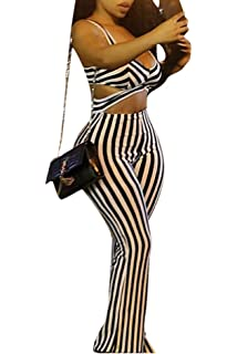 2fb784bbfab4 Ophestin Women Sexy V Neck Sleeveless Stripe Cut Out Wide Leg Bodycon  Jumpsuits Rompers