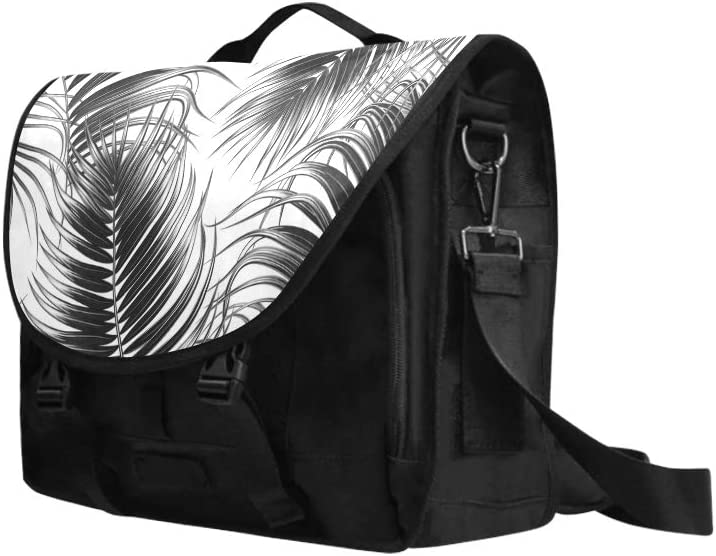 Shoulder Bag for Teens Black White Tropical Palm Leaves Multi-Functional Slim Laptop Carrying Case Fit for 15 Inch Computer Notebook MacBook