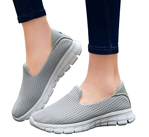 Sneakers grey light mesh Fashionable Causual Running WSKEISP Chic Shoes Breathable YS1Hgq