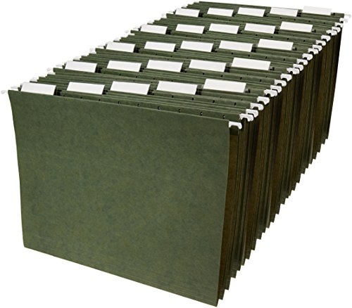 AmazonBasics Hanging File Folders - Letter Size, Green, (Cut Colored Hanging File Folders)