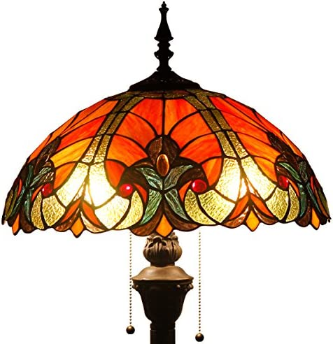 Tiffany Style Floor Standing Lamp 64 Inch Tall Red Liaison Stained Glass Shade 2E26 Antique Base for Bedroom Living Room Reading Lighting Coffee Table S160R WERFACTORY