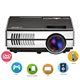 EUG Mini Video Projector, 1500 Lumens Portable Pico Home Theater Projectors, Support 1080p 720p, with Built-in Speaker Keystone Remote HDMI USB, for Movie Gaming TV DVD Smartphone Entertainment