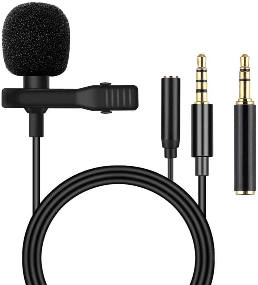 Lavalier Lapel Microphone with Headphone Adapter - Mini Condenser Clip-on Lapel Mic for Recording YouTube/Tiktok/Interview/Podcast/Vlog/,Live Streaming, Video Recording,Webcast,Online Teaching