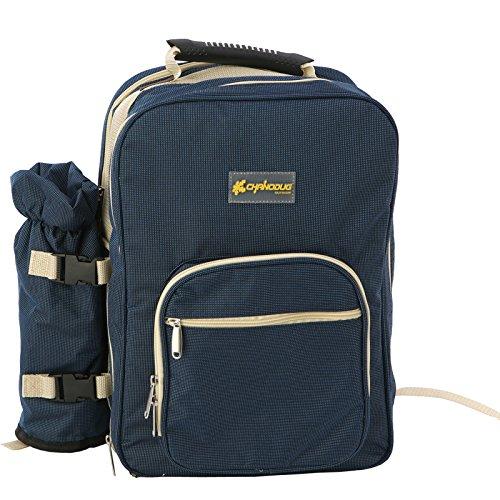 chanodug 4Person Picknick Rucksack inkl. Kühltasche herausnehmbarer Flaschenhalter und Besteck und Teller