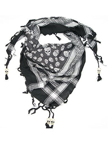 Black & White Skull Scarf for Men and Women - Cotton square skull desert scarves