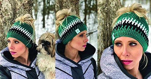 Trending Philadelphia Eagles Inspired Crochet Messy Bun Beanie & Ponytail Beanie Hats (Green Multi)