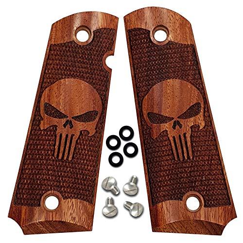 - 1911 Grips by Dan Eagle Fits Full Size, Gov't, Commander Exotic Solid Rosewood Punisher Design
