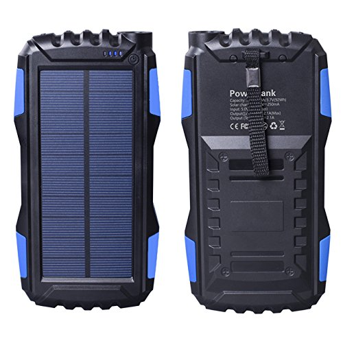 Portable Solar Phone Charger 25000mAh, Friengood Solar Power Bank with LED Light for Emergency/Outdoors, Dual USB Port Solar Powered Battery Charger for iPhone iPad Android Cellphones (Blue)