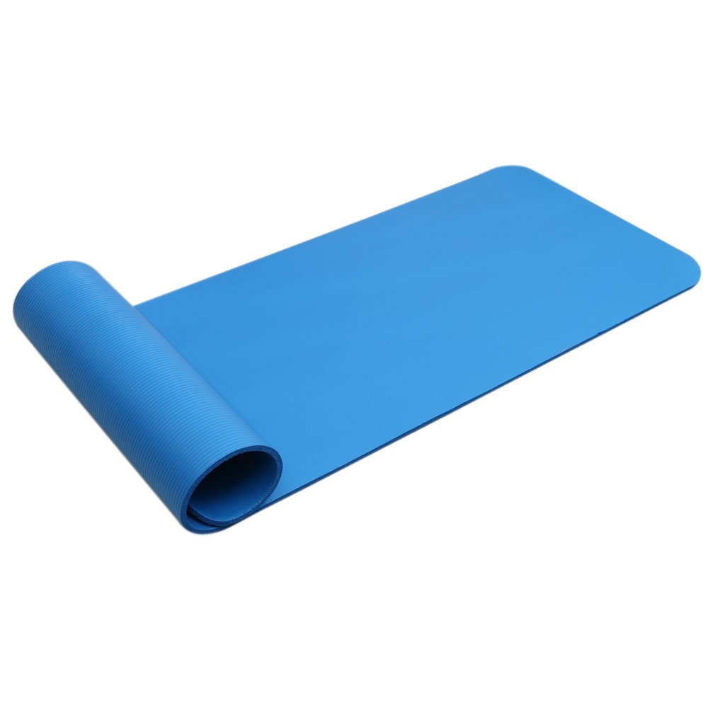 Basil Julias Outdoor Supplies Tasteless Mat for All Types of Yoga, Free Carry Strap,15mm Thickened NBR Pure Color Anti-Skid Exercise Fitness Yoga Mat for Beginner Female or Male (Blue) by Basil Julias
