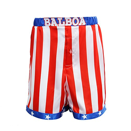 AMNPOLEN Adult Mens American Flag Boxing Satin Shorts Trunk Costume -