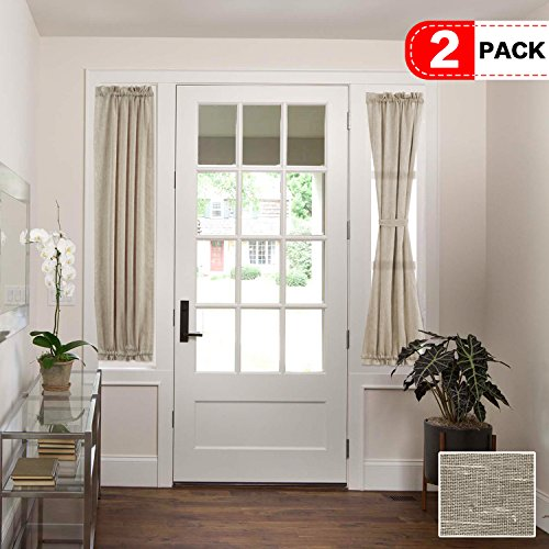 H.VERSAILTEX Taupe French Door Curtain Panels Airy and Breathable Sidelight Natural Linen Blended Sheer Curtains for Entry Door/Front Doors, Rod Pocket 2-Pack, 25 x 72 Inch Long, Privacy Assured (Two Doors Glass Front)