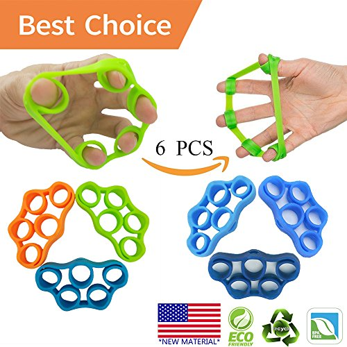 Finger exerciser, Hand Grip Strengthener, Grip Strength Trainer (6 PCS)*NEW MATERIAL*Forearm grip workout, Finger Stretcher, Relieve Wrist Pain, Carpal tunnel, Trigger Finger, Mallet Finger and more.