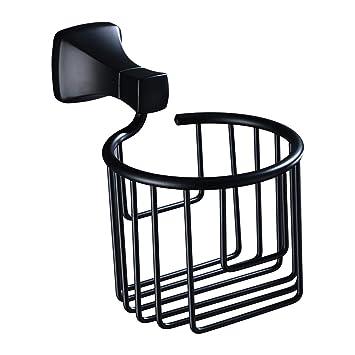 DJDL-Portarrollos Baño Portarrollos De Papel Higiénico Europeo Negro Hotel Reel Caja De Toallas De Papel Antiguo Baño Cesta De Toallas Cesta De Acero ...