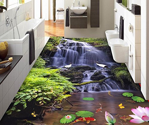Cheap  BZDHWWH Self Adhesive Flooring Custom 3D Landscape Wallpaper Waterfall Streams Waterproof Wood..