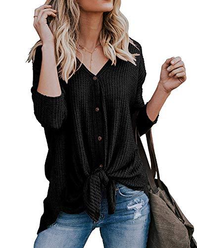 tricots Shirt Chemisier V Manches Casual Boutons Souris Noir Cardigan Sweat Chandails Tunique Col Chauve Blouse Mode Femme Lache Longues Noeud Tops Walant Irrgulier Dcontract 5wvHxq7nXI