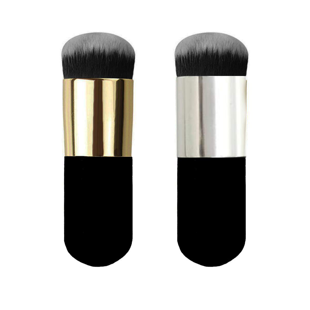 2 Pieces Travel Kabuki Foundation Brush, Suit For Blending Liquid, Cream or Flawless Powder Cosmetics, (Golden & Silver)