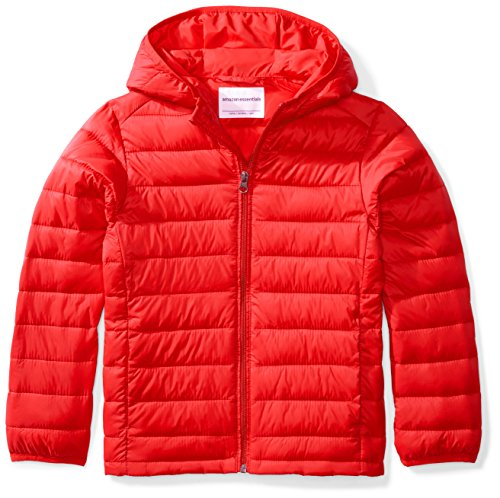 Amazon Essentials Big Boys' Lightweight Water-Resistant Packable Hooded Puffer Jacket, Strong Red, ()
